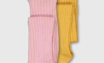 Pink & Yellow Ribbed Tights