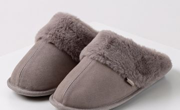 Grey Suede Mule With Faux Fur Collar