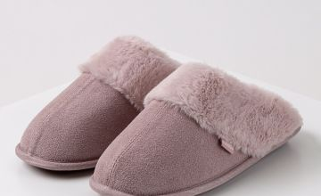 Pink Suede Mule With Faux Fur Collar