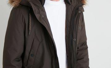 Hooded Shower Resistant Parka Coat