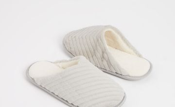 Grey Faux Fur Textured Stripe Mule Slippers