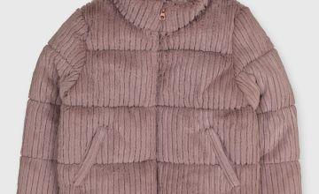 Pink Corduroy Padded Jacket