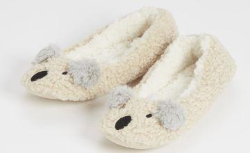Beige Novelty Koala Ballerina Slippers