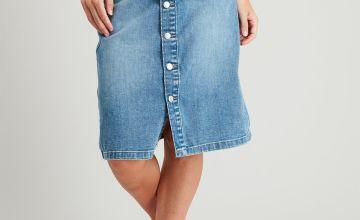 Denim Button-Through A-Line Skirt