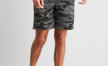 Camo Print Jogger Shorts