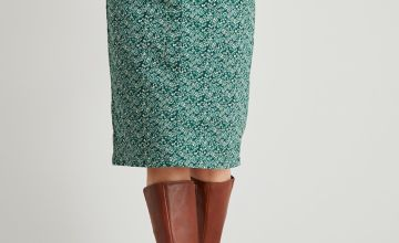Green Floral Print Twill Pencil Skirt