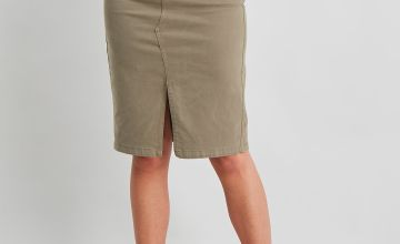 Khaki Twill Pencil Skirt