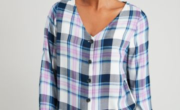 Check V-Neck Button Through Blouse