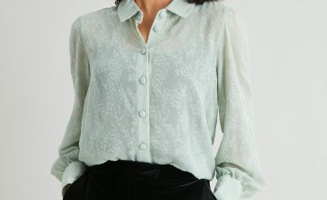 Black Sheer Jacquard Shirt