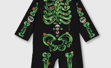 Halloween Black & Green Skeleton Costume