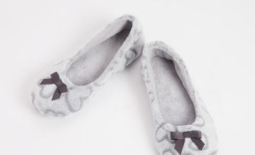 Grey Heart Embossed Ballerina Slippers