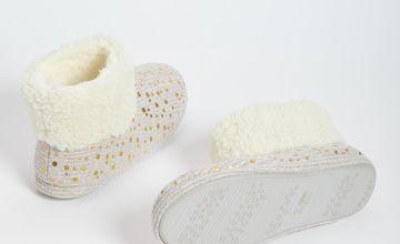 Gold Foil Print Beige Slipper Boots