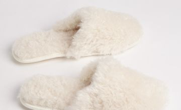 Cream Fluffy Platform Mule Slippers