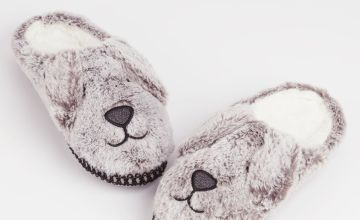 Grey Faux Fur Novelty Dog Slippers