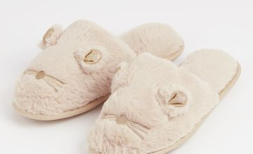 Cream Novelty Mouse Mule Slippers