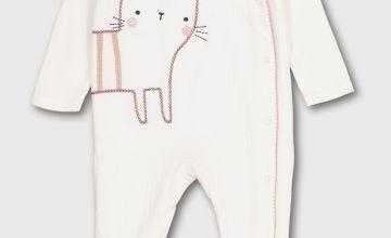 Cat Emblem Pointelle Sleepsuit