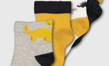 Grey Dinosaur Ankle Socks 4 Pack