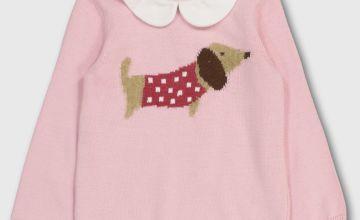 Pink Sausage Dog Knitted Jumper