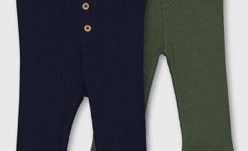Navy & Green Ribbed Leggings 2 Pack