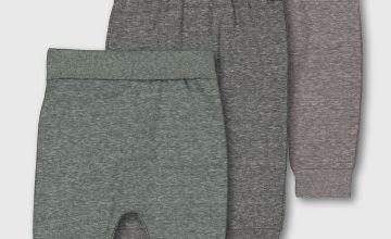 Green & Grey Marl Joggers 3 Pack