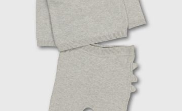Grey Knitted Dinosaur Top & Joggers