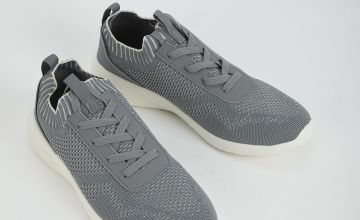 Sole Comfort Grey Knitted Lace Up Trainers