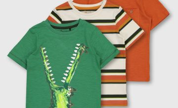 Crocodile, Stripe & Plain T-Shirt 3 Pack