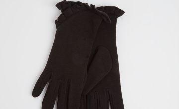 Black Ruffle Trim Gloves - One Size