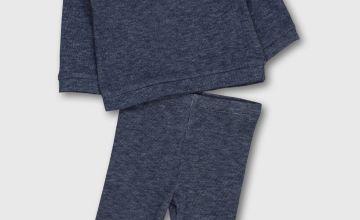 Navy Marl Soft Knit Top & Leggings