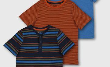 Stripe Print Grandad Tops 3 Pack