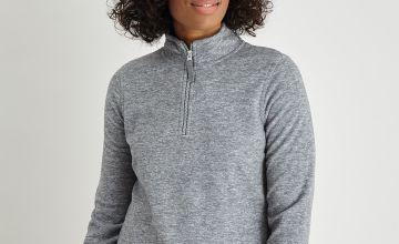 Grey Marl Half-Zip Fleece