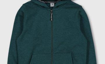 Green Zip Through Hoodie