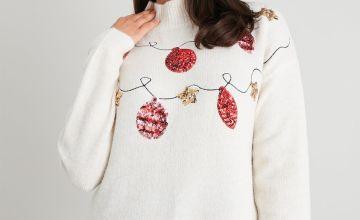 Christmas Cream Sequin Bauble Jumper