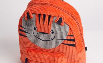 Orange Corduroy Novelty Tiger Backpack - One Size