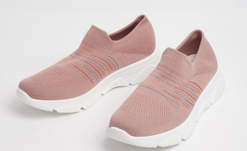 Pink Knitted Slip On Trainers