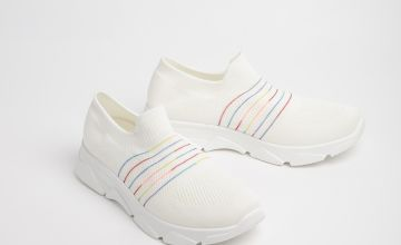 White Knitted Slip On Trainers