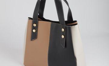 Colour Block Faux Leather Shoulder Bag - One Size
