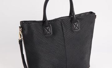 Black Faux Leather Ribbed Shopper Bag - One Size