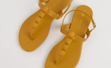 Mustard Pebble Toe Post Sandal