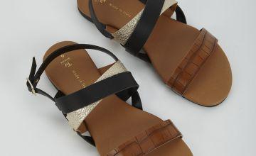 Mock Croc Cross Strap Sandals