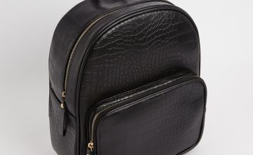 Black Mock Croc Backpack - One Size