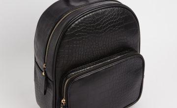 Black Mock Croc Backpack - One Size