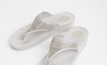 Silver Diamanté Flip Flops