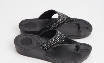 Black Diamanté Flip Flops