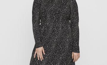 Black Abstract Print Long Sleeve Midi Dress