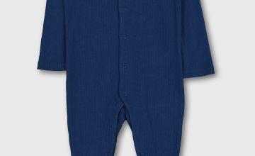 Navy Ribbed Safari Sleepsuit