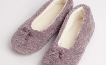 Lilac Cosy Ballerina Slippers