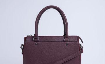 Burgundy Faux Leather Handbag - One Size