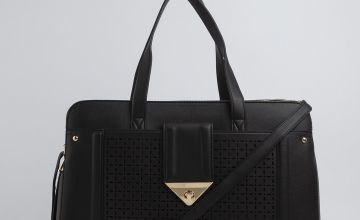 Black Laser Cut Laptop Bag - One Size