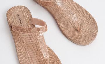 Rose Gold Mock Croc Toe Post Sandals